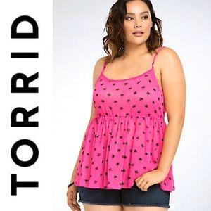 Torrid Pink & Palm Tree Empire Waist Tank Top